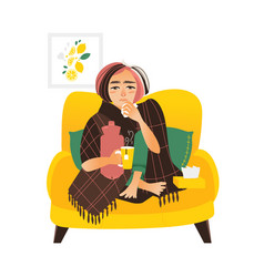 Flat style woman having flu wrapped in blanket vector