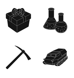 Gift coal industry and other web icon in black vector