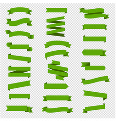 green ribbon set in isolated transparent vector image