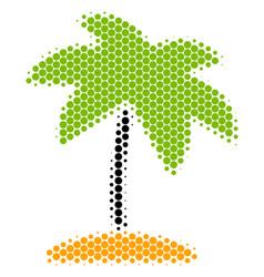 halftone dot island tropic palm icon vector image
