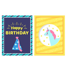 happy birthday greetings cards vector image