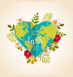 Happy earth day greeting card for environment love vector