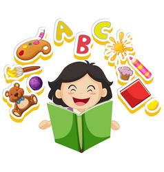 Happy girl reading book alone vector