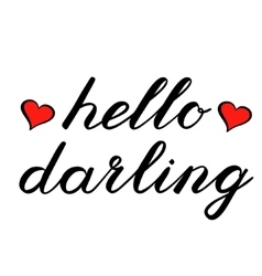 Hello darling brush lettering Cute handwriting vector image