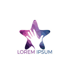human hand with star logo design vector image