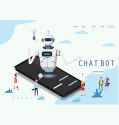 isometric science chat bot smartphone concept vector image