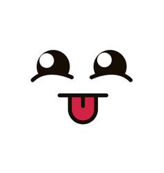 Kawaii cute face expression eyes and mouth tongue vector