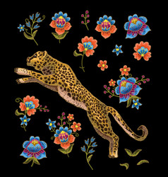 Leopard with flowers vector
