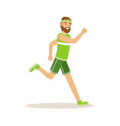 Male athlete character running active sport vector