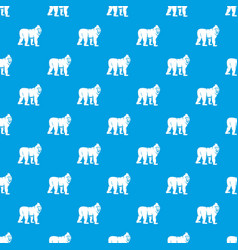 Mandrill monkey pattern seamless blue vector