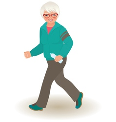 Mature woman doing jogging vector image