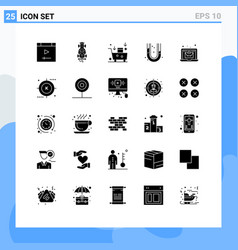 Modern set 25 solid glyphs and symbols such as vector