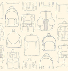 Monochrome seamless pattern with backpacks or vector