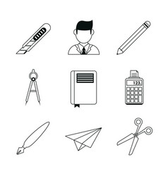 Monochrome silhouette with study icons vector