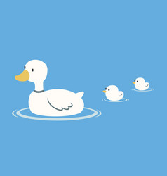 mother duck swimming with ducklings vector image