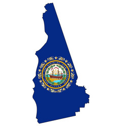 New hampshire outline map and flag vector