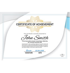 official white certificate with grey blue design vector image