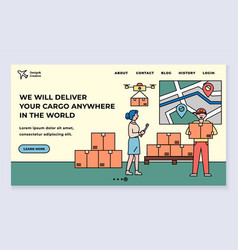 online delivery service landing web page template vector image