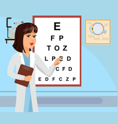 Ophthalmologist at hospital flat vector
