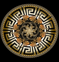 ornate golden 3d greek mandala pattern with vector image