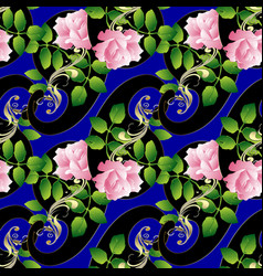 paisleys seamless pattern floral blue background vector image