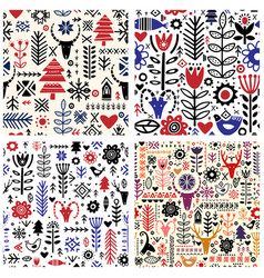 Plants and deer in nordic style seamless pattern vector