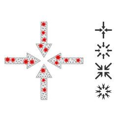 Polygonal mesh impact arrows pictograph with virus vector