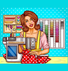 Pop art woman tailor sews on a modern vector