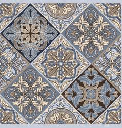 Portuguese azulejo ceramic tile seamless pattern vector