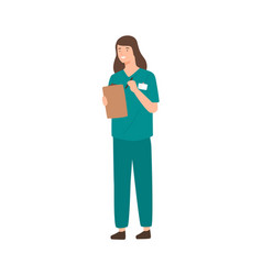 Positive female doctor holding clipboard and pen vector