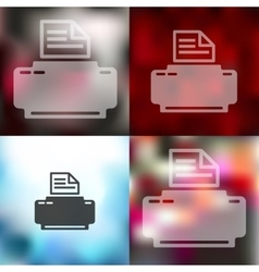 Printer icon on blurred background vector