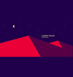 red dunes against night sky with moon and vector image
