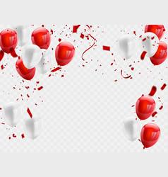 red white balloons confetti concept design vector image