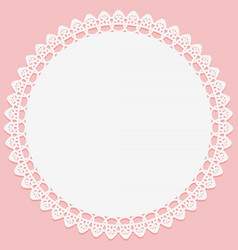 round white napkin with lace on edge on pink vector image