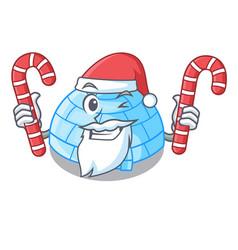 Santa with candy cartoon ice house igloo on vector