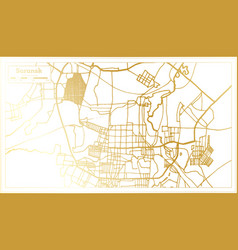 saransk russia city map in retro style in golden vector image
