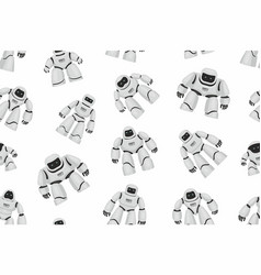 seamless pattern of white different robots vector image