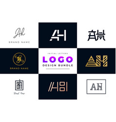 Set collection initial letters ah logo design vector