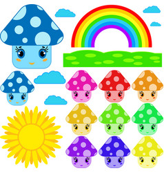 set of cartoon mushrooms of different colors vector image