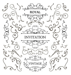 Set of classic swirls luxury design vector