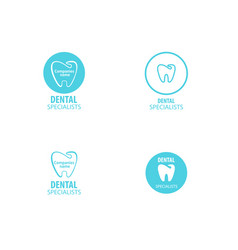 Set of dental clinic logo tooth icon vector