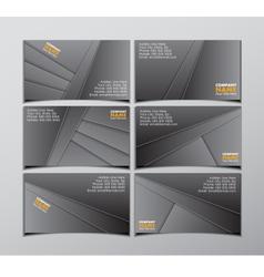 Set six black visit cards vector