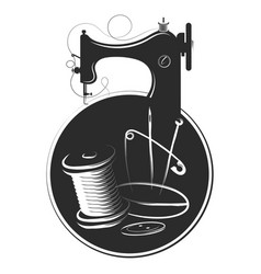 sewing machine needle thread cutting and sewing vector image