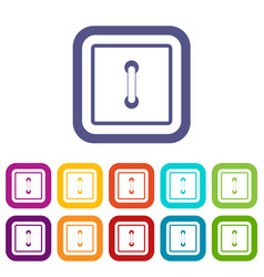 Sewn square button icons set flat vector