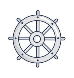 Shiny metal round steering wheel vector