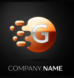 silver letter g logo gold dots splash and bubble vector image