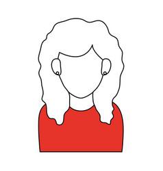 Sketch color silhouette faceless half body woman vector