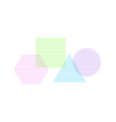square circle triangle and hexagon in halftone vector image