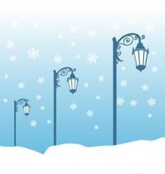 street lamp in winter vector image