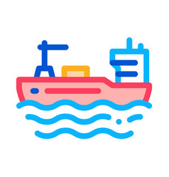 tanker at sea icon outline vector image